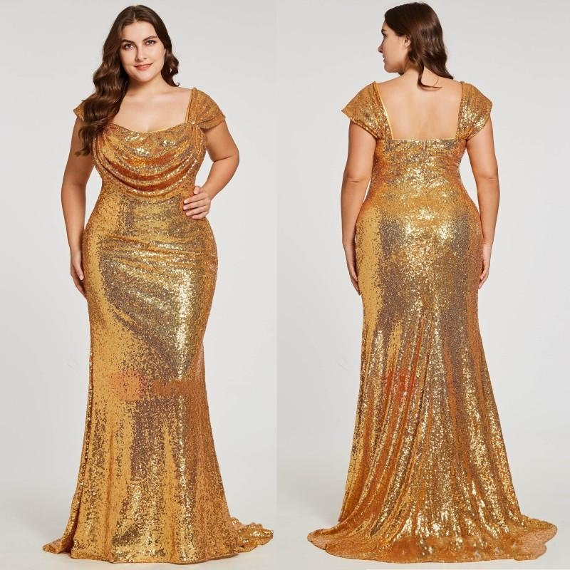 Sparkly Gold Sequined Plus Size Evening Mother of the Bride Dress Square Neck Mermaid Floor Length Mothers Dresses