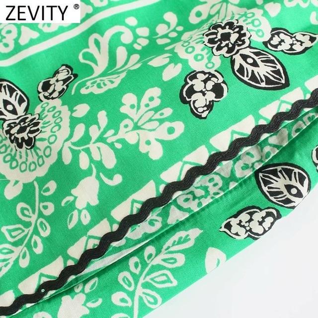 Zevity 2021 Women Vintage Position Flower Print Casual Hot Bermuda Shorts Female Chic Elastic Waist Bow Pantalone Cortos P1140 6