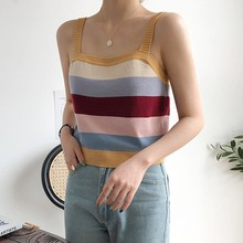 2019 Causal Tank Top Knitted Striped Cami Tops Summer Beach Wear Sexy Sling Vest Female Fitness Sleeveless Basic Camisole Tees цены онлайн