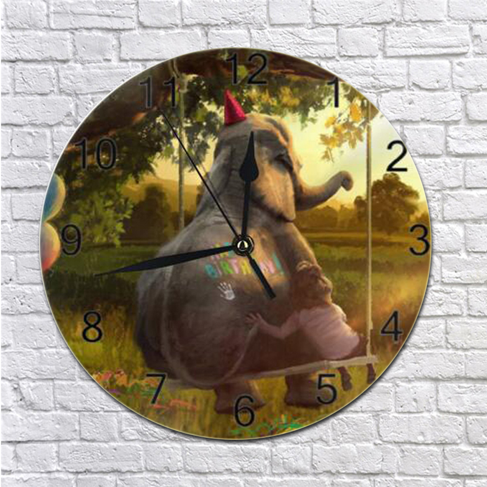 Round Wall-Clock Elephant Animal Numeral Digital Dial Mute Silent Non-Ticking Battery Operated Clock Art For Living Room Kicthen