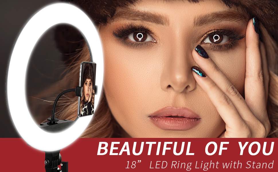 Ha2482d4a1a9747ef84dc41c89f309105W LED Ring Light 10 inch 18 inch 22 inch Dimmable Selfie Ring Lamp with Tripod Photography Lighting for Phone Makeup Youtube Video