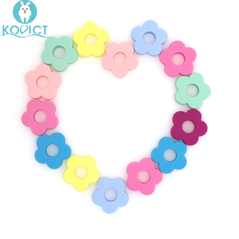 Kovict 10pc Silicone Flower Beads Holes Silicone Flower Baby Teething Beads Diy Beads DIY Accessories