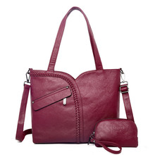 2 Sets 2018 Large Capacity Women Bags Shoulder Tote Bags Women Messenger Bags With Coins Famous Designers Leather Handbags Sac