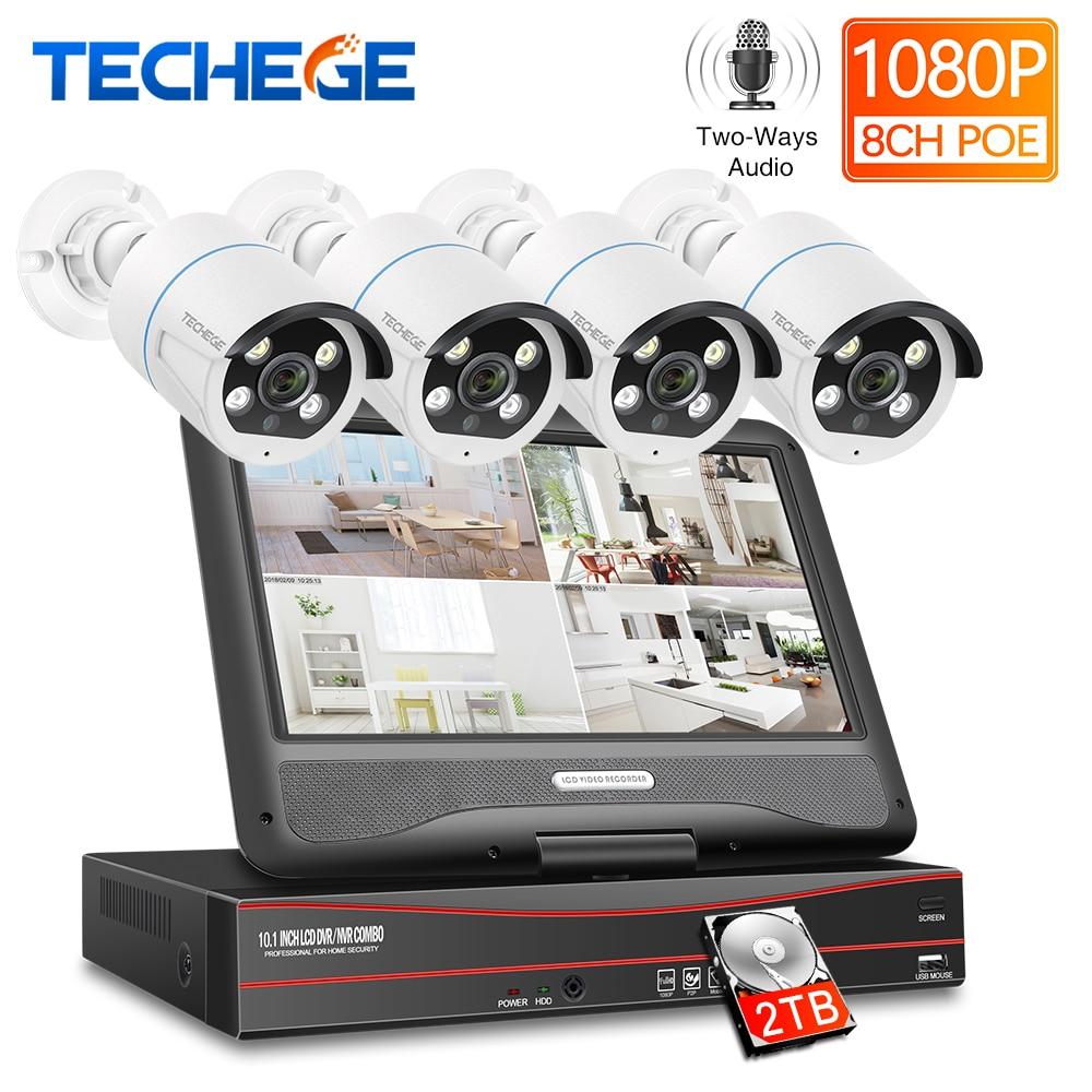 Techege 8CH 1080P POE NVR kit 10.1'' LCD Monitor 2MP 3000TVL Two way Audio AI Smart PoE IP Camera Outdoor Video Surveillance Kit