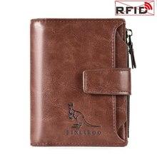 Carteiras masculinas anti roubo carteira de couro genuíno homens vertical curto bolso moeda bolsa titular do cartão rfid carteira homem alta qualidade