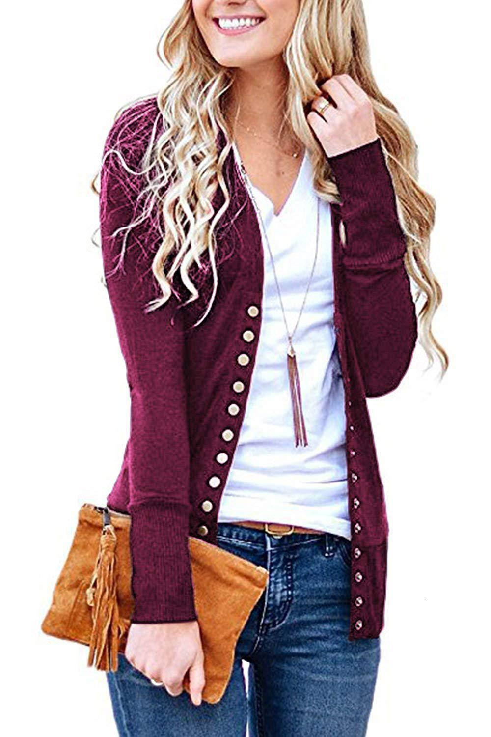 2019 Women Fashion Spring Casual V Neck Long Sleeve Knitted Sweater Button Down Cardigan Tops Outwear Coat