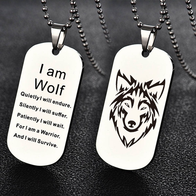 Модное ожерелье с кулоном в виде волка с двойной гравировкой я волк фанаты подарок собака бирка ювелирные изделия брелок