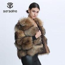 Raccoon Fur Jacket Women Natural Fur Coat Winter Re