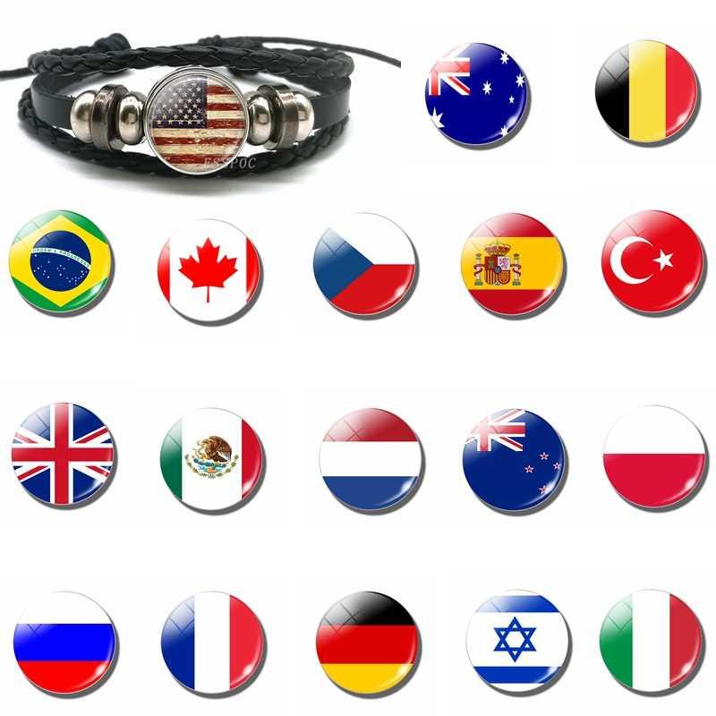 Bendera Nasional Spanyol Turki Amerika Serikat Pesona Hitam Tombol Gelang Gelang Kulit Anyaman Tali Gaya Punk Wanita Pria Hadiah Grosir
