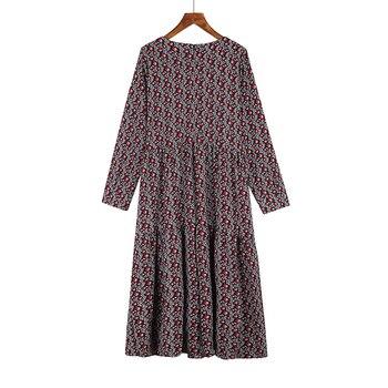 Plus Size 4XL O-Neck Women Print Flowers Shirt Dress Fall Fashion Vintage Long Sleeves Good Quality Female Dress D7N705A 5