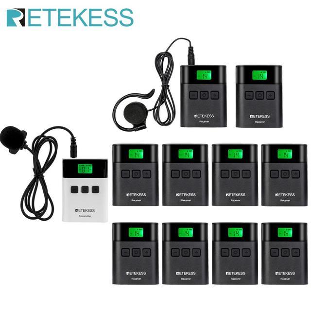 RETEKESS TT122ทัวร์ท่องเที่ยวแบบไร้สาย1เครื่องส่งสัญญาณ + 10เครื่องรับสัญญาณสำหรับโบสถ์โรงงานการฝึกอบรมทัวร์ท่องเที่ยวGovermentการประชุม