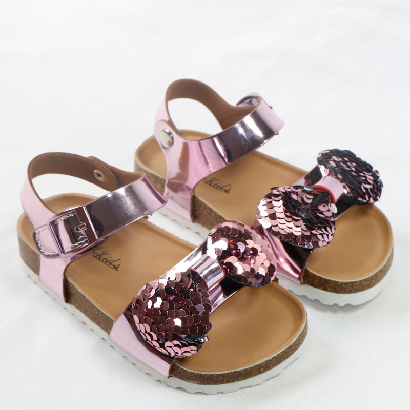 Newest Summer Kids Shoes Corks 2020 Fashion Leathers Sweet Children Sandals For Girls Toddler Baby Breathable Bow Shoes Glitter
