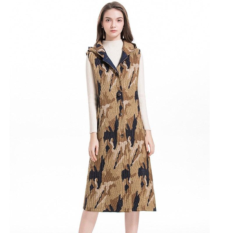 Chaleco con capucha algodón MIYAKE pliegue invierno largo fino algodón abrigo moda popular chaleco envío gratis - 4