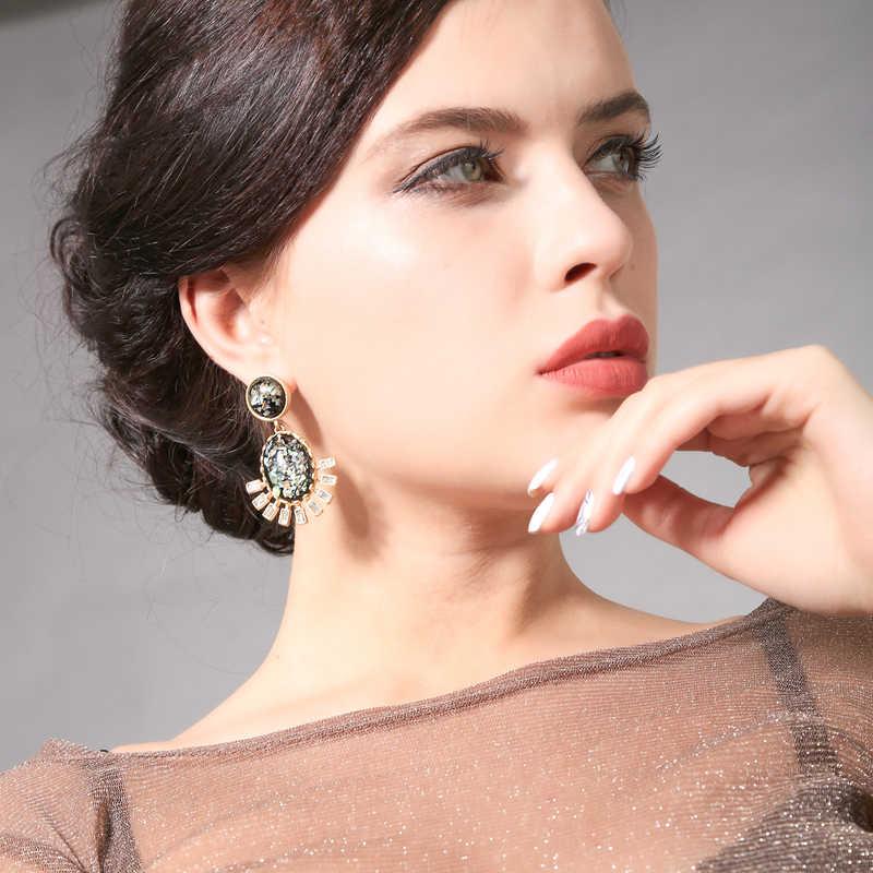 Kissme 2020, Nueva joyería de moda, venta al por mayor, pendientes de gota para mujer, pendientes grandes de resina de cristal delicado, pendientes en descuento, liquidación