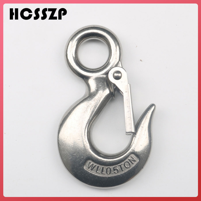 10 Pcs 0.5 Ton Round Eye Crane Hook S320 Stainless Steel Snap Lifting Hook with Safety Load Limit of 500 Kg Rigging Hardware