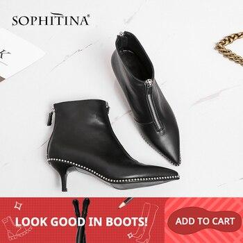 SOPHITINA mode femmes bottes Unique de haute qualité en cuir véritable Sexy pointu chaussures à talons fins nouvelle offre spéciale bottines SO16