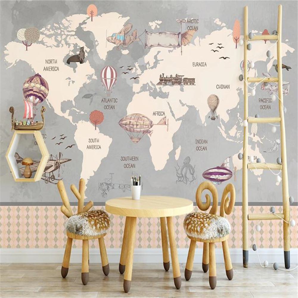 Milofi Nordic hand-painted nautical hot air balloon children's room indoor background wall