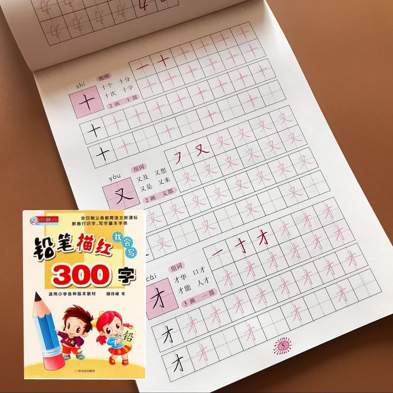 Kids Writing Chinese Han Zi Book 300 Basic Chinese Characters Pen Pencil Copybook For Preschool Children Calligraphy Book