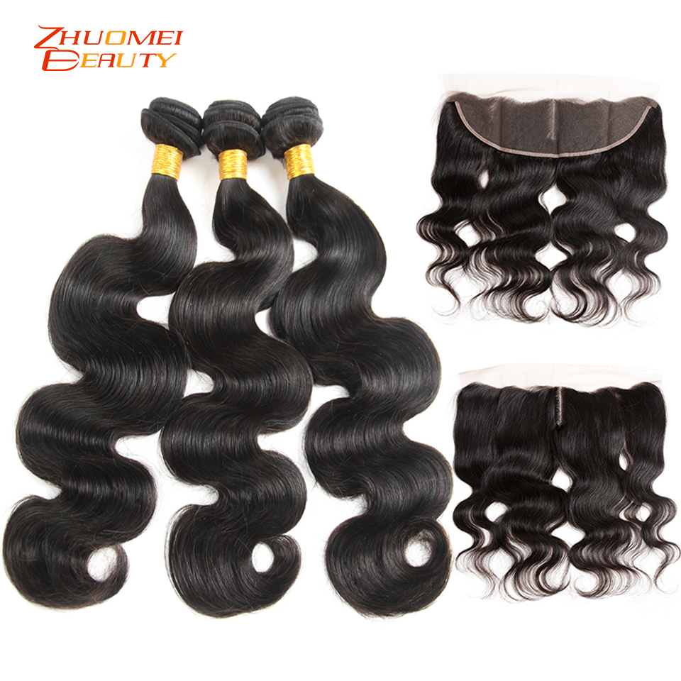 Zhuomei Beauty Brazilian Body Wave 3 Bundles With Frontal P Human Hair Bundles With Closure 13x4 Lace Frontal With Bundles Remy