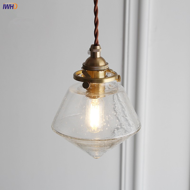 Lampe LED suspendue en verre avec interrupteur en forme de diamant, design créatif, petites bulles, style nordique, cuivre, E27