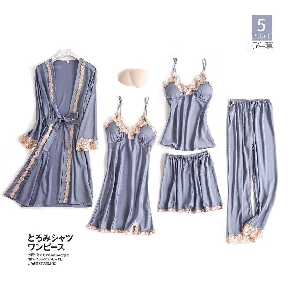 New 5 PCS Women Pajamas Sets With Pants Sexy Pyjama Satin Silk Nightwear Lace Sleepwear Pyjama Pijama Femme Underwear M-XL