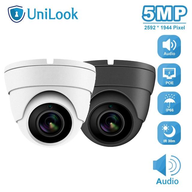 UniLook 5MP 미니 돔 POE IP 카메라 내장 마이크 야외 보안 CCTV 카메라 IR 30m IP66 Hivision 호환 ONVIF H.265