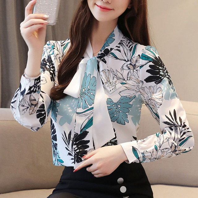 Blusas Mujer De Moda 2021 Ladies Tops Chiffon Blouses Shirts Long Sleeve Button Floral Bow Blouse For Women Clothing 6002 50 4