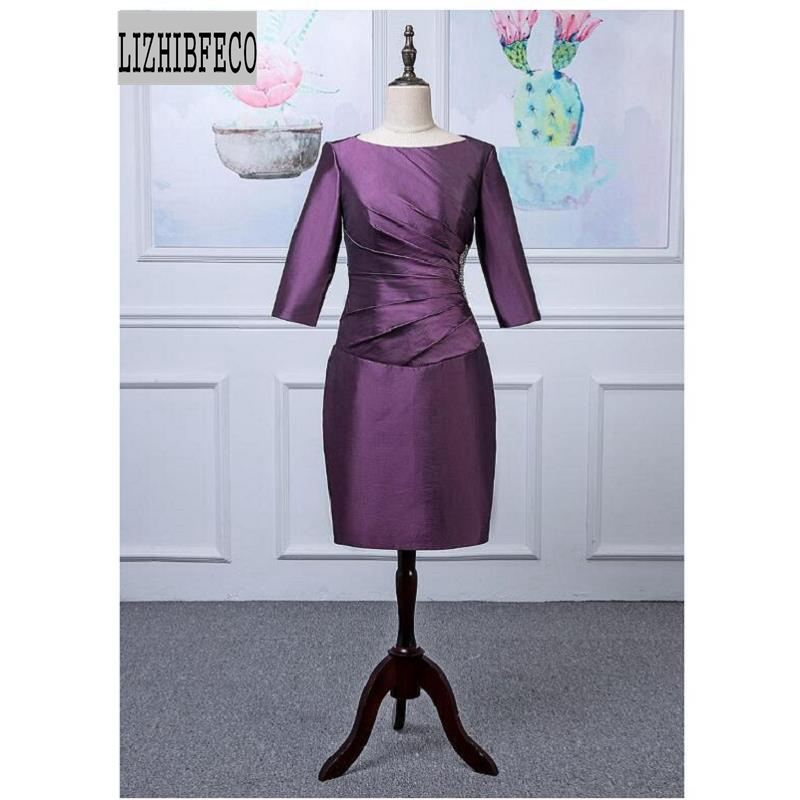 Purple Taffeta 3/4 Sleeves Knee-Length  Sheath Mother Of The Bride Dress Custom Made