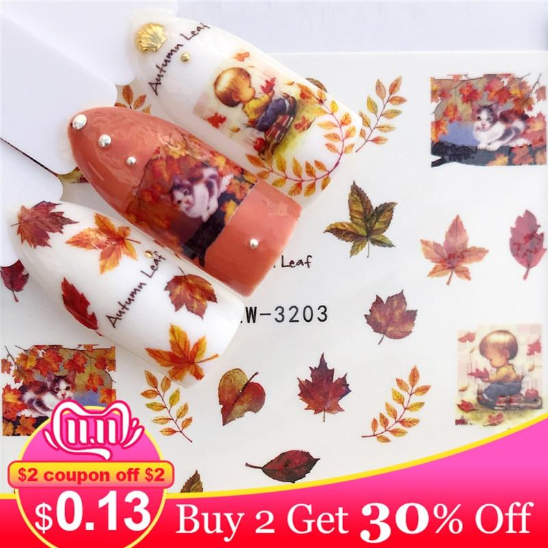 Lcj 1 pc folhas de outono/flamingo/cavalo/flor transferência de água etiqueta da arte do prego beleza decalque unhas arte decorações