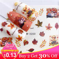 LCJ 1 PC Autumn Leaves/ Flamingo / Horse / Flower Water Transfer Nail Art Sticker Beauty Decal Nails Art Decorations
