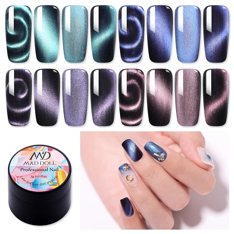 MD DOLL 5D Cat Eye Gel Nail Polish Magnetic Effect Gel Polish Starry Sky Soak Off UV Gel Nail Art Gel Varnish DIY Design