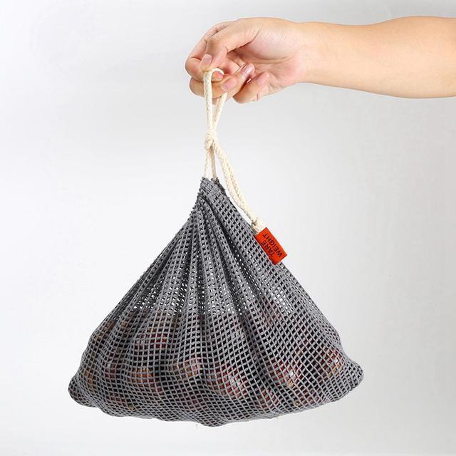 9pcs Reusable Produce Bags Cotton Mesh Produce Shopping Bag Set Organic Eco Friendly Washable Storage Bags for Fruit Vegetables 6