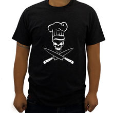 summer black men tshirt Chef Skull Grill Master Diet Culinary Grilling BBQ Apron Cooking Hat plus size 3XL mens tee shirt homme(China)