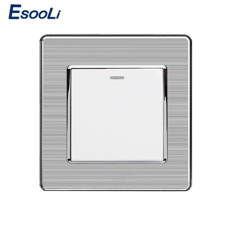 Esoli 1 Gang 1 Way Interruptor de luz de lujo On/Off Interruptor de pared Panel de acero inoxidable AC 110 ~ 250V