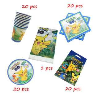 Pikaqhu 81pcs/lot Birthday Party Disposable Tableware Cup Plate Napkin Baby Shower Gift Bag Tablecloth Decorations Supplies(China)