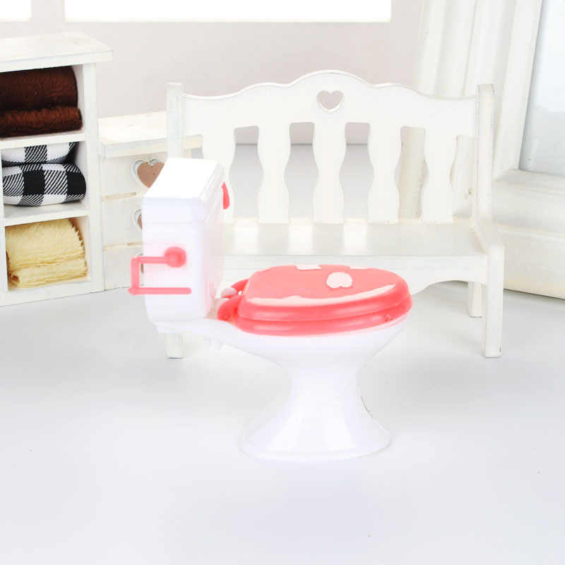 1PCs Mini Casa de Boneca Em Miniatura Casa De Bonecas Mobiliário Modelagem Branco Vaso Sanitário Do Banheiro Do Vintage Do Bebê Fingir Brinquedos Bonecas Acessórios
