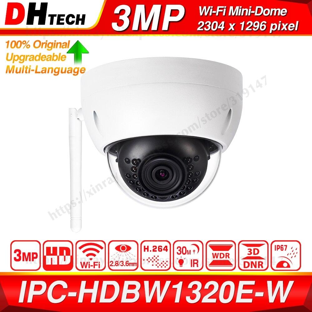 Dahua Original IPC-HDBW1320E-W 3MP IR Mini Dome IR 30m WiFi Network IP Camera Wireless Mini Dome CCTV Security Camera IP67 IK10