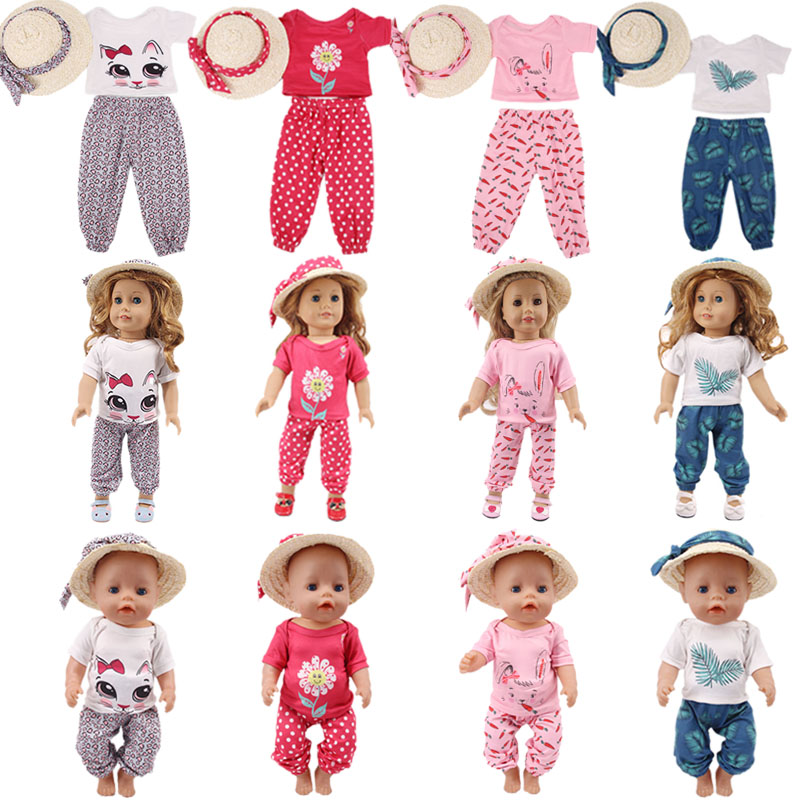 Doll Clothes Kitten Rabbit Mermaid 4Pcs=Silk Scarf+Straw Hat+T-shirt+Leisure Trousers For 18 Inch American&43 Cm Born Doll Girl