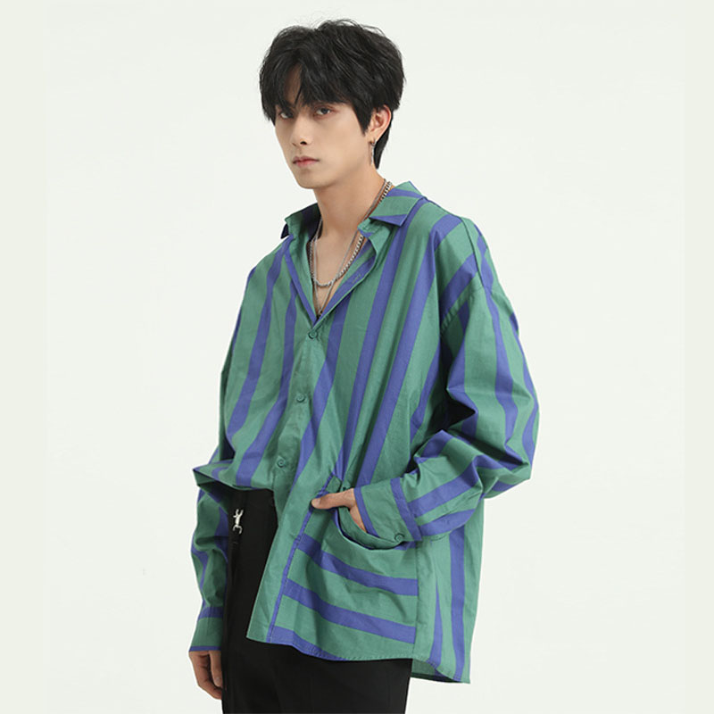 2020 New Men Long Sleeve Casual Stripe Shirt Male Vintage Fashion Streetwear Loose Dress Shirts