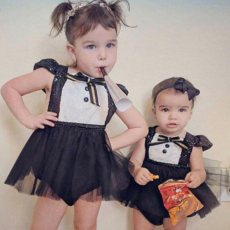 Купить с кэшбэком Fashion Kids Baby Tutu Skirts Princess Girls Cute Little Bow Tie Clothes Sequin Skirts Sleeveless Jumpsuit Sunsuit Outfits 0-24M
