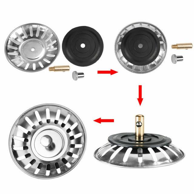 주방 스테인레스 스틸 싱크 스트레이너 폐기물 처리기 플러그 드레인 스토퍼 필터 내구성 주방 도구