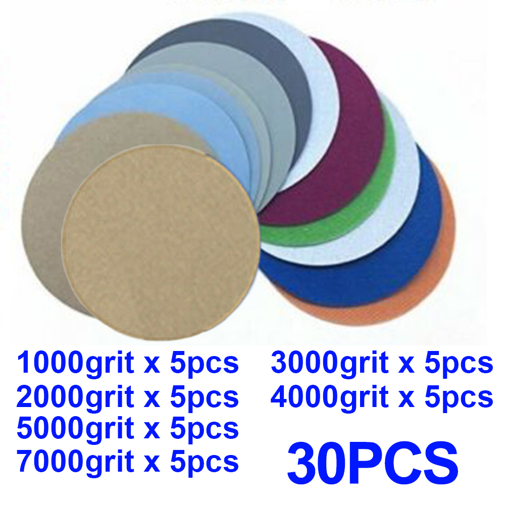 30pcs 5inch 1000 2000 3000  4000 5000 7000 Grit Wet / Dry Sanding Discs Hook And Loop Sand Papers Loop Sanding Disc For Sander|Abrasive Tools|   - AliExpress