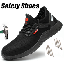 Indestructible Shoes Large Men Safety Work Shoes with Steel Toe Cap Puncture-Proof Boots Seasons Lightweight Breathable Sneakers