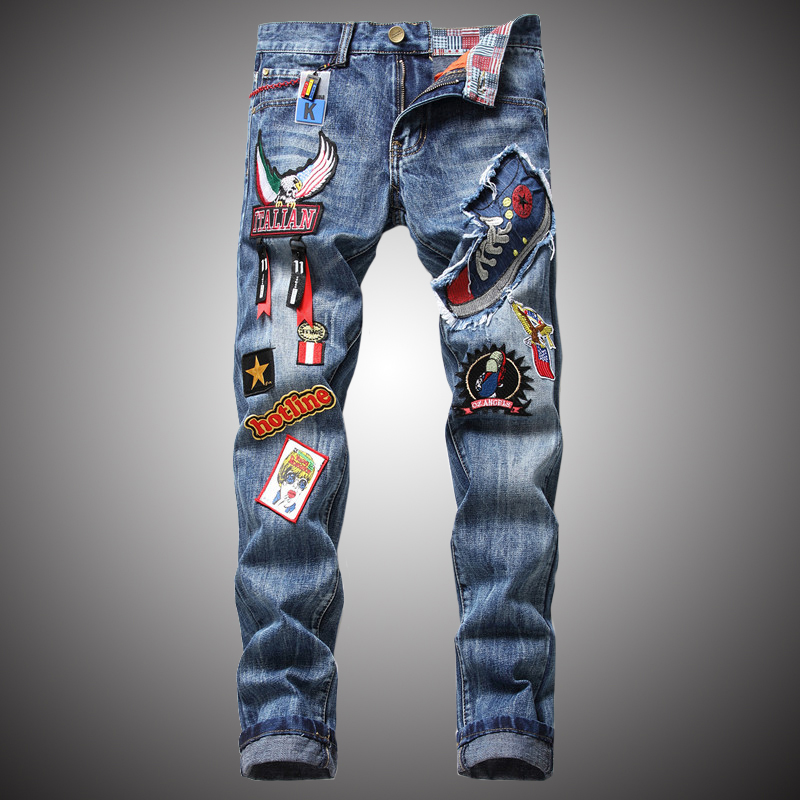 Badge Embroidery Jeans Men Fashion Denim Pants Casual Pencil Pant Jeans Slim Fit Mens Trousers BP056