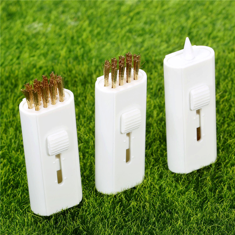 New 3Pcs White Brass Retractable Steel Wire Golf Iron Club Bristle Brush Groove Cleaner Kit Golf Club Brushes Training Aids Tool