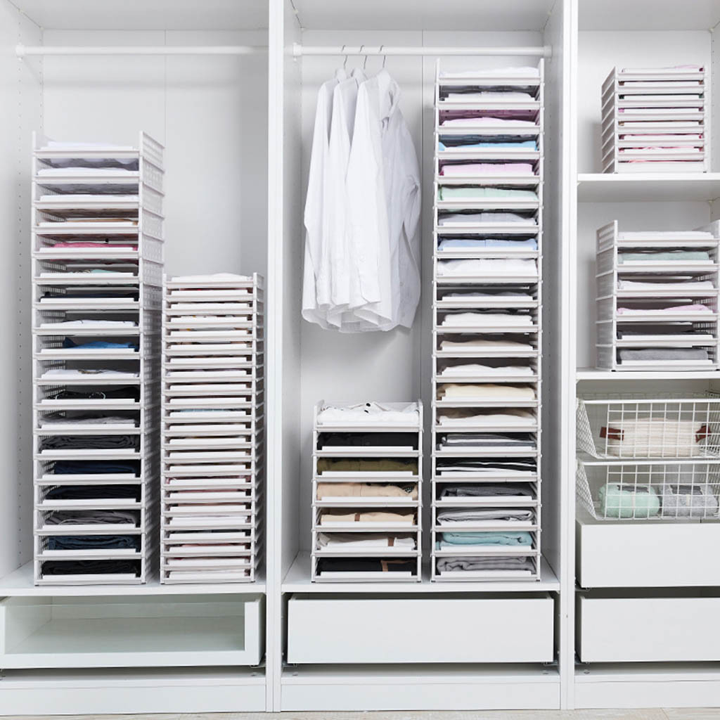Detachable Clothes Drawer Organizer and Stackable Wardrobe Partition Rack in Multiple Layers 3