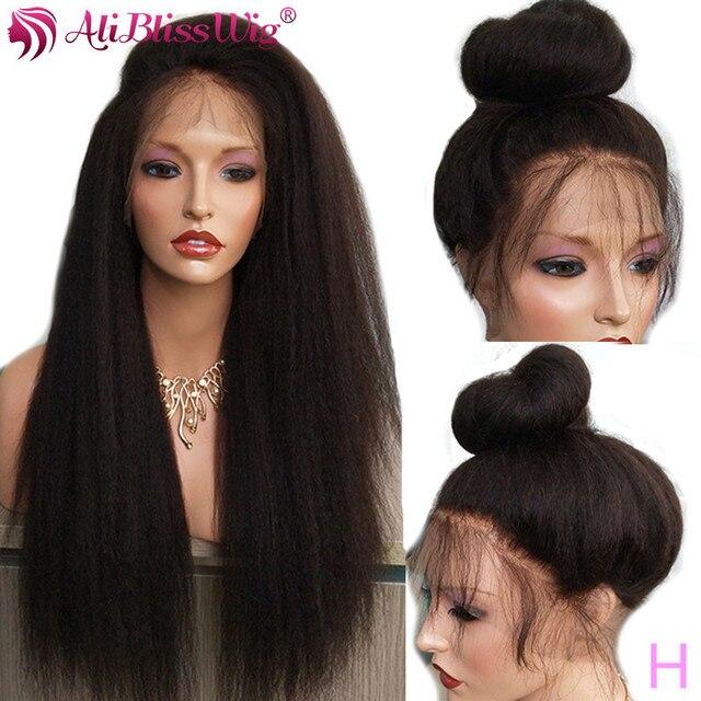 """Aliblisswig pełna peruki typu lace z ludzkich włosów dla czarnych kobiet perwersyjne peruki z prostymi włosami 130% gęstość Remy wysoki współczynnik 10-24 """""""" peruka na koronce"""