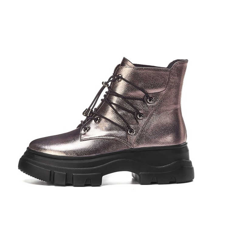 MLJUESE 2020 kadın yarım çizmeler inek deri tabanca renk lace up kış kısa peluş yuvarlak ayak kadın binici çizmeleri