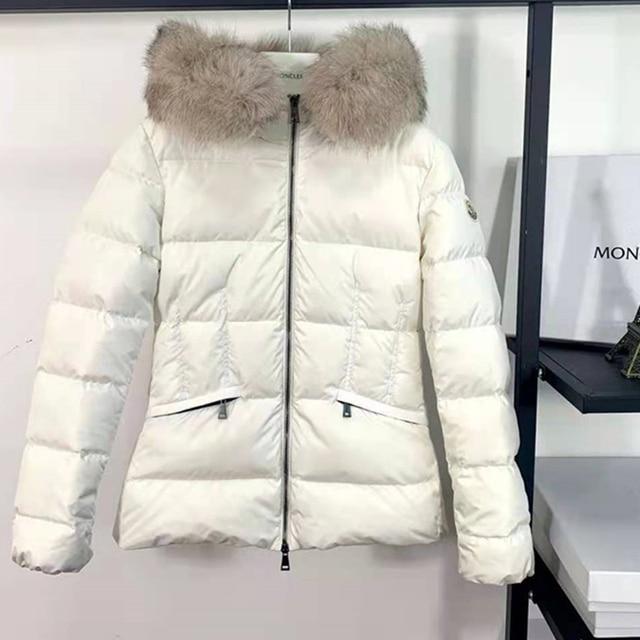 Women Real Fox Fur Collar Designer Luxury Brand Down Jacket Coats  Women With Fur Hood White Duck Down Parka Hooded Winter Coat 1