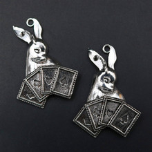 Rabbit Pendant, Domineering Charm, Bunny Poker King DIY Metal Jewelry Tibetan Silver 47*34mm A1519  4pcs